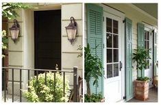 Full length shutters on porch and black door