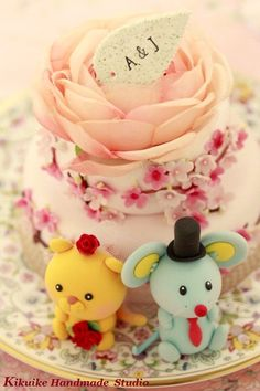 Lovely mouse / rat and lion Wedding Cake Topper by kikuike