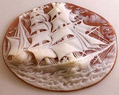 Veliero.  Shell: Cassis Madagascariensis Cameo Size: 85 mm Carver: Michele Langella