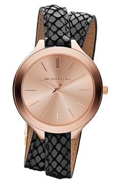 """Michael Kors """"Slim Runway"""" Embossed Leather Strap Watch, - A slimmer version of an iconic menswear-inspired watch features a sleek sunray dial, high-polished case and double-wrap python-embossed leather strap. Sergio Rossi, Jewelry Accessories, Fashion Accessories, Gold Jewelry, Jewelry Design, Jewellery, Couleur Or Rose, Nordstrom, Mk Bags"""