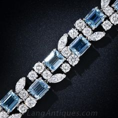 A truly gorgeous platinum, aquamarine and diamond bracelet, circa by the great American jewelry manufacturer - Oscar Heyman. Eighteen deep pastel blue emerald-cut aquamarines (about as fine a color as they come in smallish sizes) are embraced Modern Jewelry, Vintage Jewelry, Fine Jewelry, Jewellery, Glass Jewelry, Silver Jewelry, Diamond Bracelets, Ankle Bracelets, Bangles