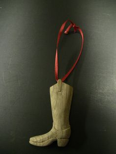 Hand Carved Wooden Cowboy Boot Ornament by my friend, Grant F.