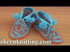 How to Crochet Square Motif Booties Tutorial 42 Part 2 of 2 Chausson pou...