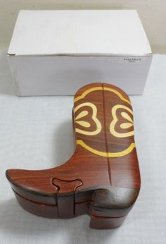 New Carved Wooden Folk Art Rodeo Ranch Western Cowboy Boot Puzzle Trinket Box