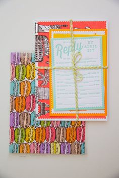 colorful wedding paper goods with travel flair // photo + design by The Goodness // View more: http://ruffledblog.com/colorful-foresthill-wedding/