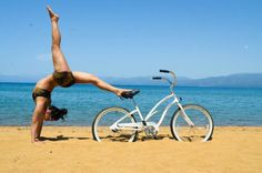 Clare Dobson, Yoga Bike Beach