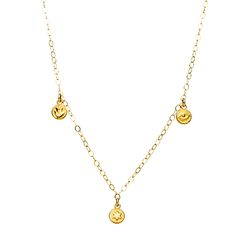 Mini Disk Gold Necklace in 14k gold with your choice of: evil eye, heart, cross, hamsa or star.