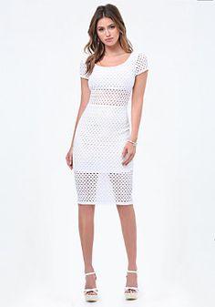 bebe Eyelet Short Sleeve Dress