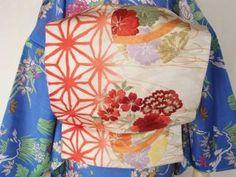 破れ麻の葉と桜と牡丹柄帯