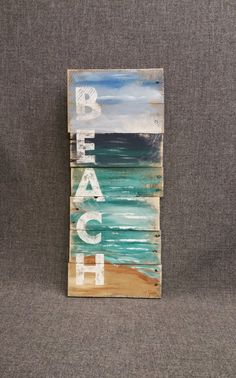 Beach word sign handmade Hand painted sign seascape with BEACH Cottage upcycled Wall art Distressed Shabby Chic Wood Pallet Art, Wood Pallets, Wood Art, Pallet Walls, 1001 Pallets, Art Mural Palette, Plage Art Mural, Art Rustique, Art Pariétal