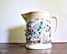 Mosaic Antique Ironstone Pitcher