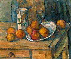 Cézanne, Paul     French, 1839 - 1906  Still Life with Milk Jug and Fruit c. 1900     oil on canvas
