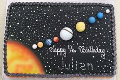 solar system cake for B Solar System Cake, Science Cake, Planet Cake, Astronaut Party, Galaxy Cake, Outer Space Party, 6th Birthday Parties, Birthday Ideas, Themed Cakes