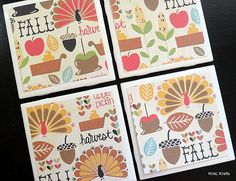 Thanksgiving Coasters Fall Coasters Tile Coasters by KimLKrafts