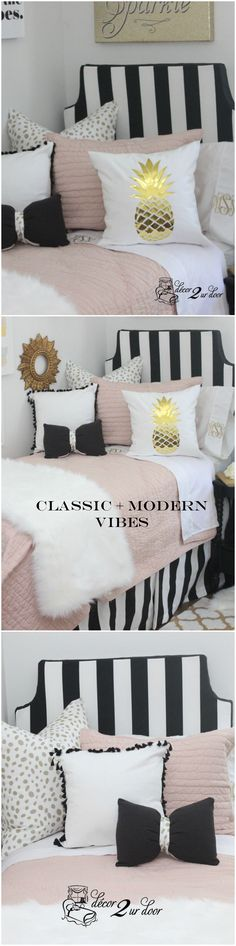 Modern and classy dorm room bedding set. This blush and black dorm room bedding is this year's hottest trend. Our blush pink quilt combines with bold black stripes, metallic dalmatian print, fur, fringe, and bows.