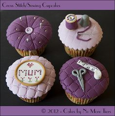 """""""Sewing Bee"""" cupcakes for Mother's Day - Cake by Cakes By No More Tiers (Fiona Brook) Bee Cupcakes, Pretty Cupcakes, Beautiful Cupcakes, Fondant Cupcakes, Themed Cupcakes, Baking Cupcakes, Yummy Cupcakes, Cupcake Cookies, Birthday Cupcakes"""