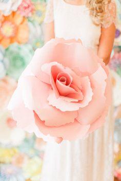 giant paper rose Non Flower Bouquets, Bride Bouquets, Flower Bouquet Wedding, Bridesmaid Bouquet, Tea Party Wedding, Mod Wedding, Wedding Day, Wedding Vows, Wedding Bells