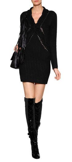 Cable Knit Sweater Dress - MOSCHINO CHEAP AND CHIC, Patent/Stretch Crepe Over-the-Knee Boots - LAURENCE DACADE