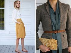 tweed blazer mustard skirt