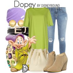 Dopey by leslieakay on Polyvore featuring Charlott, Frame Denim, WithChic, Sophie Hulme, Seaman Schepps, Sevil Designs, Neff, disney and disneybound