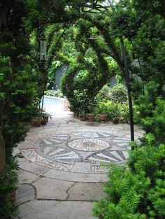 pebble mosaic patio | Gary Lombardi Design, Cambridge, MA