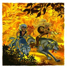 """In retaliation, the savage humans torch the elves' forest home. Cutter has no choice but to lead the Wolfriders deep into unknown territory, there to face dangers untold as the tribe seeks a have far from Man's hate and mistrust."" #Elfquest www.elfquest.com"