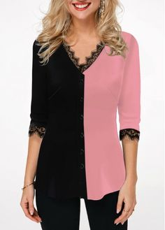 Women'S Color Block Button Front Half Sleeve Tunic Casual Blouse Lace Panel V Neck Fall Top By Rosewe Color Block Lace Panel Button Front Blouse Umgestaltete Shirts, Trendy Tops For Women, Stylish Tops, Blouse Online, Womens Fashion, Punk Fashion, Lolita Fashion, Trendy Fashion, Front Lace