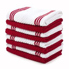 8 Piece Red White Kitchen Dish Cloth Cleaning 4 Solid 4 Strip Free Shipping New