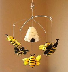 Musical Bumble Bee and Beehive Mobile Custom Colors by PinkPerch