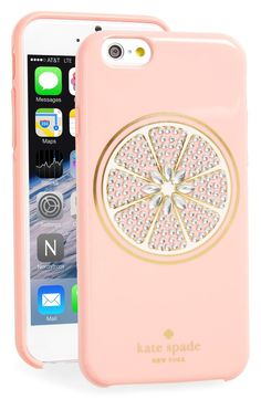 A crystal-encrusted grapefruit adds sweet and summery sophistication to a dual-layered iPhone case from Kate Spade.
