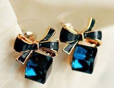 Beautiful Shimmer Plated Blue Bow, Cubic Crystal Earrings Rhinestone  - Stud Earrings For Women