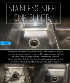 Forget the expensive cleaners, flour doubles as a natural stainless-steel shiner. #SaveMoney #DIYHome #HouseholdTips #FlourTrick #SinkShine #ChemicalFreeClean