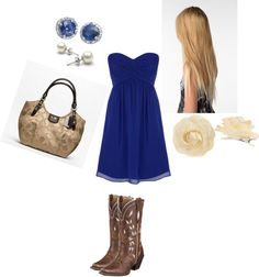Cute country outfit.. Blue dress with brown boots