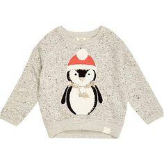 Mini girls grey christmas penguin sweatshirt  £12 #riverisland #RImini #girlswear