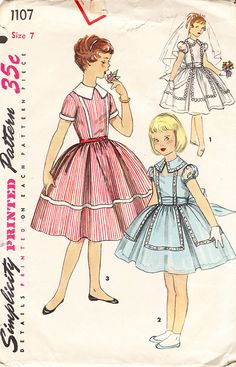 1950s Vintage Simplicity Pattern No 1107 For by daisyepochvintage