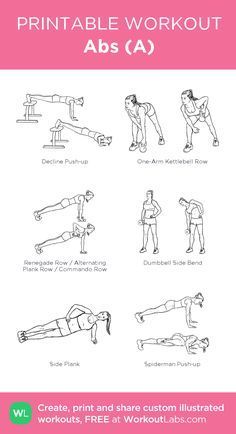 Abs (A): my visual workout created at WorkoutLabs.com • Click through to customize and download as a FREE PDF! #customworkout