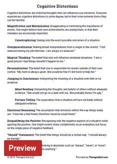 Cognitive distortions are irrational thoughts that influence our emotions. Everyone experiences cognitive distortions to some degree, but in their more extreme form they can be maladaptive and harmful. Cbt Worksheets, Therapy Worksheets, Therapy Activities, Counseling Worksheets, Health Activities, Work Activities, Cognitive Distortions Worksheet, Thinking Errors, Abnormal Psychology