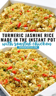 Use leftover chicken to pair with Turmeric Jasmine Rice Recipe for an easy dinner night idea. Try our Middle Eastern-inspired Turmeric Jasmine Rice recipe made in the Instant Pot with Roasted Chicken, Recipes Using Rice, Rice Recipes For Dinner, Easy Rice Recipes, Crockpot Recipes, Chicken Recipes, Cooking Recipes, Roasted Chicken Rice Recipe, Yummy Recipes, Vegetarian Recipes