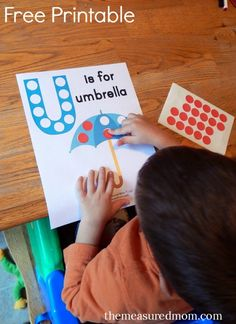 Free letter U printable - use dot stickers, magnets, cereal, etc. to cover the circles