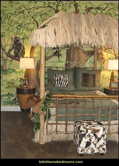 Jungle Décor | Safari Jungle Hut Decorating Theme Bedrooms Jungle Theme