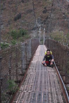 Hanging Bridge at kilometer before Mt. Ugo Traverse ends. Railroad Tracks, Philippines, Bridge, Bridges, Attic, Train Tracks, Bro