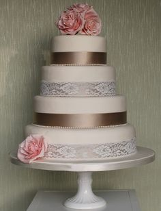 Found on WeddingMeYou.com - Vintage Lace Inspired Wedding Cakes - lace and roses #weddingcake