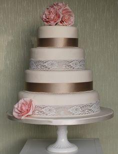 Found on WeddingMeYou.com - Vintage Lace Inspired Wedding Cakes - lace and roses #weddingcake