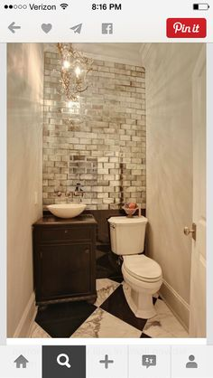 interesting use of faux brick mirrored tiles
