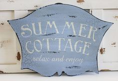 Summer Cottage Sign - Beach Cottage Decor - Coastal Decor - Primitives by Kathy from California Seashell Company