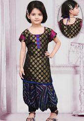Black Chanderi Silk Kameez With Salwar