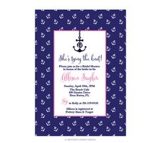 Paper & Party Supplies  invitations  party  Nautical  preppy  boating  summer  bridal shower  anchor  stripes beach  figure 8 knot  rope  anchor pattern Preppy Nautical Party/Shower Invitations  by brittanylaurendesign