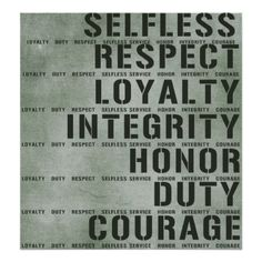 Military values poster