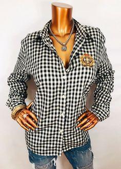 c246f212 Details about Ralph Lauren XL NWT Top Plaid LRL Logo Embr Button Down Shirt  Blouse Black Ivory