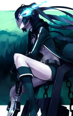 Side view of Black Rock Shooter sitting Kawaii Anime Girl, Anime Art Girl, Anime Rock, Black Rock Shooter Cosplay, Tekken Cosplay, Neko, Blue Exorcist, Blues Rock, Dark Anime